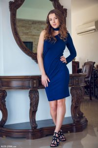 Sybil A in tight blue dress