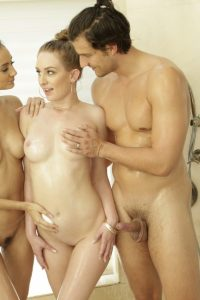 Anniversary Threesome Massage under shower