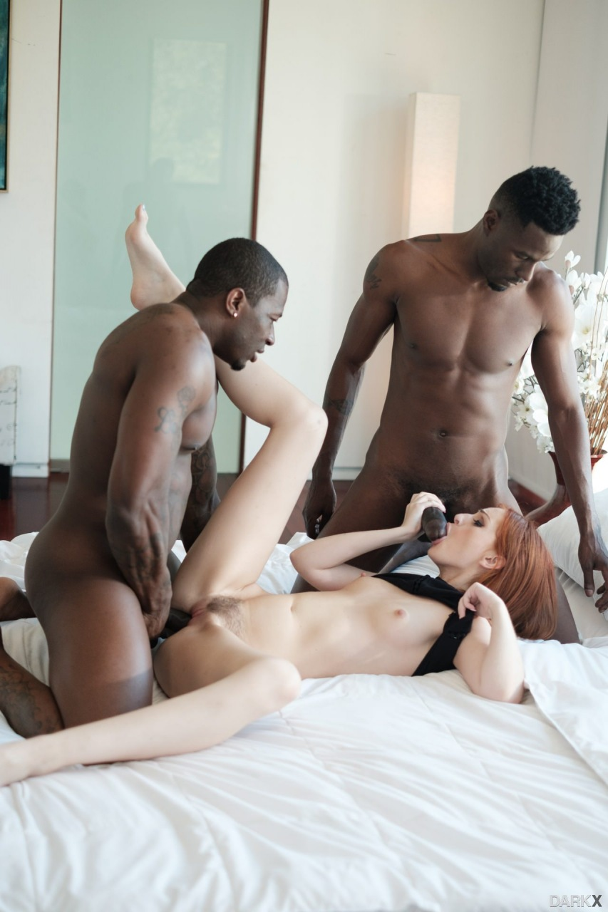 Maya Kendrick blows a big black cock while gets fucked by another one