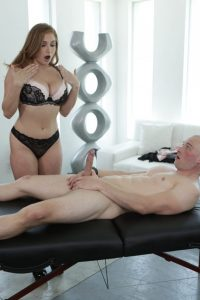 Skylar is shocked by the clients erected penis
