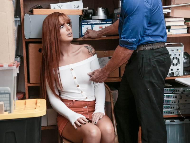 Redhead pilfer Scarlett Mae fucked at Shoplyfter