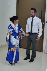 Asian geisha meeting her master