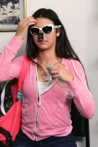 Kylie wearing the sunglasses she stole