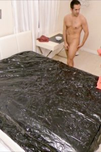 Nude client sees the nude masseuse at first