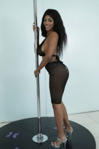 Pole dancing black cutie